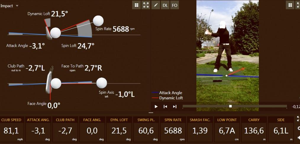 Trackman capture d'écran Paul Lambersens golf haute savoie Genève prof cours leçon